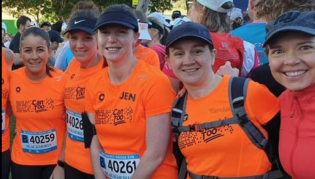 Anne Lingafelter, extreme right, is fundraising to fight cancer