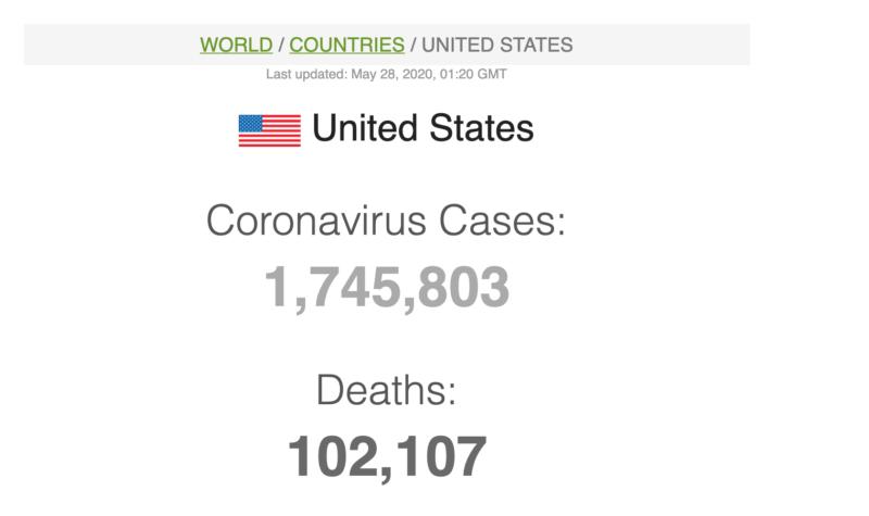 A snapshot of Worldometer's USA Covid-19 stats.