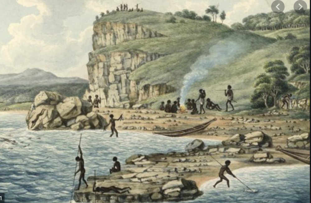 First Nations Australians, painted by Joseph Lycett, in the Newcastle region.