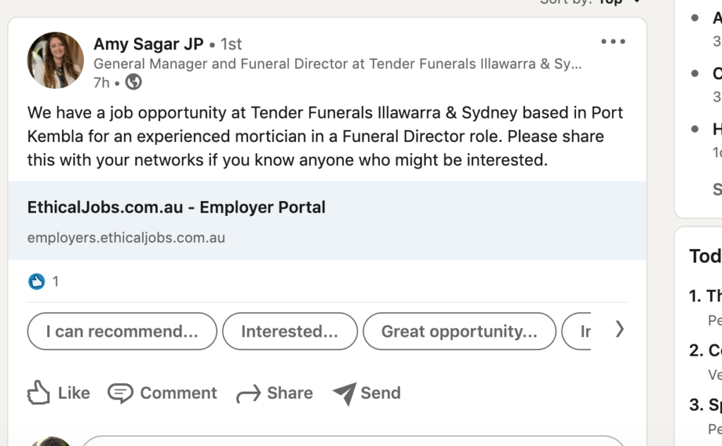 Tender Fenerals is calling for a new staff member.