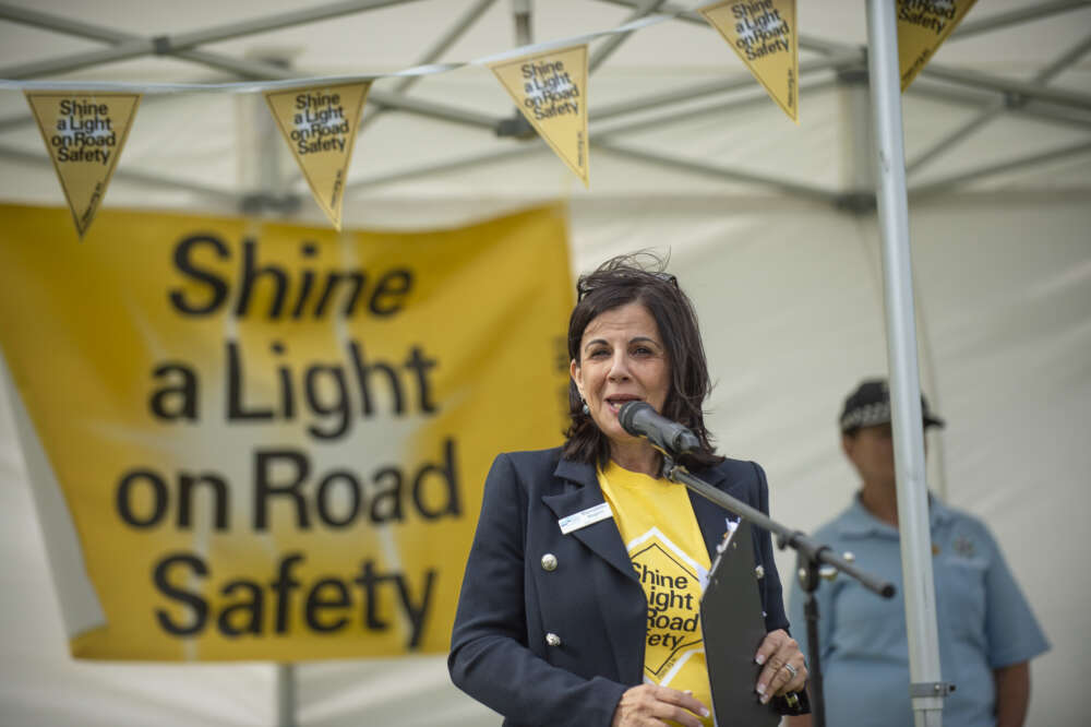 Road Trauma Support Services Victoria's CEO Bernadette Nugent addresses the crowd of supporters at the Shine a Light event this year.