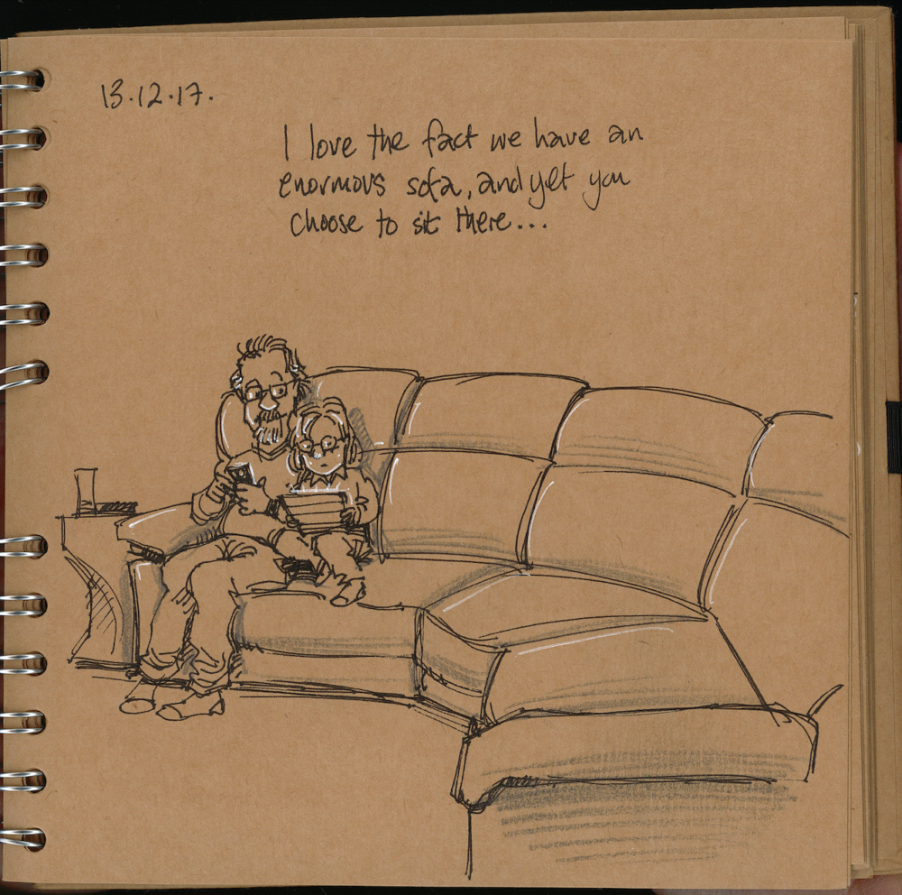 Gary Scribbler finds Joy - I love the fact we have an enormous sofa, and yet you choose to sit there